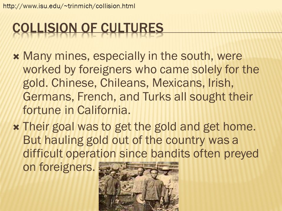  Many mines, especially in the south, were worked by foreigners who came solely for the gold. Chinese, Chileans, Mexicans, Irish, Germans, French, an