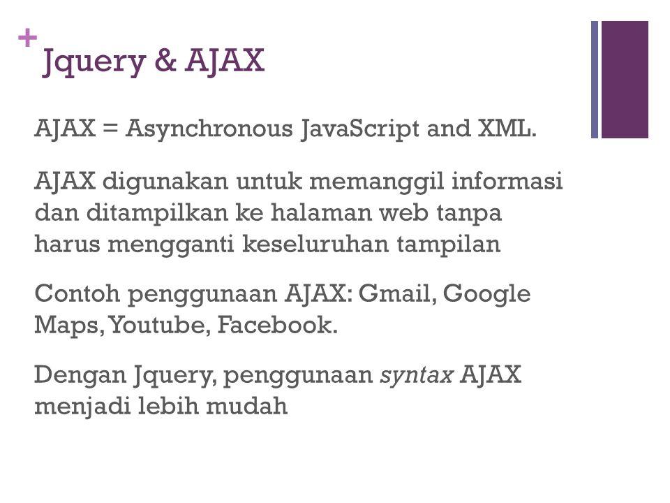 + Jquery & AJAX AJAX digunakan untuk memanggil informasi dan ditampilkan ke halaman web tanpa harus mengganti keseluruhan tampilan Contoh penggunaan AJAX: Gmail, Google Maps, Youtube, Facebook.
