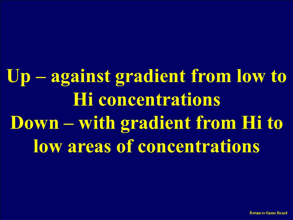 Category What does up or down a concentration gradient mean