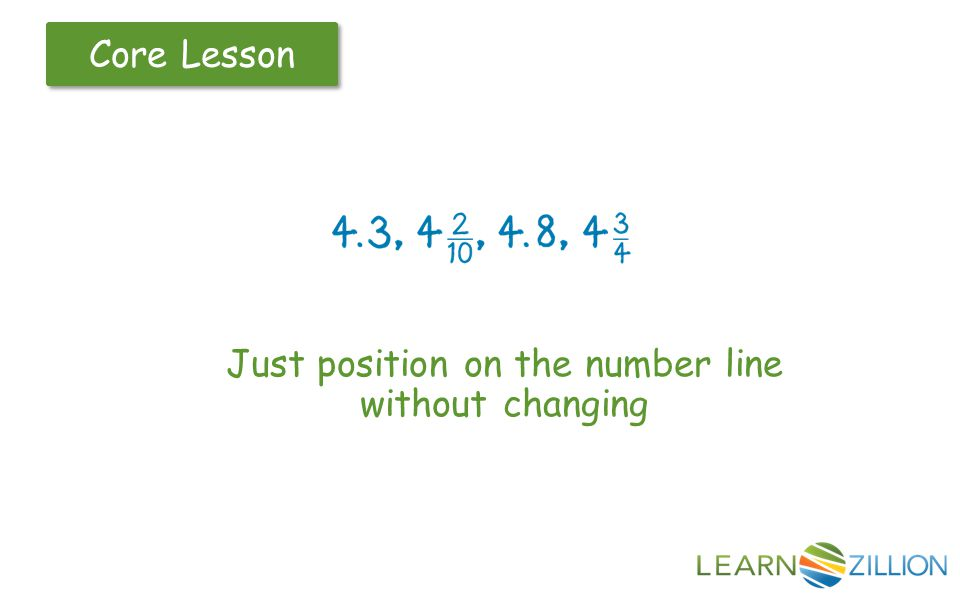 Core Lesson Just position on the number line without changing