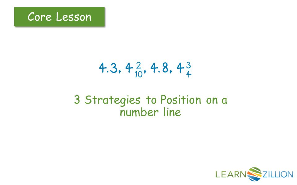 Core Lesson 3 Strategies to Position on a number line
