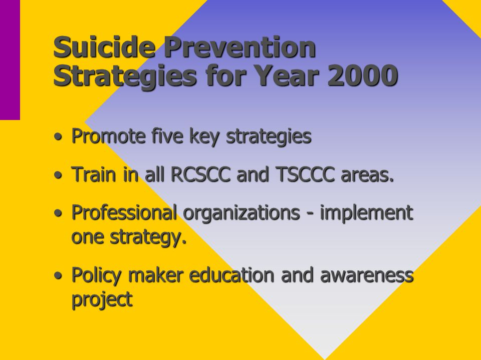 Suicide Prevention Strategies for Year 2000 Promote five key strategiesPromote five key strategies Train in all RCSCC and TSCCC areas.Train in all RCSCC and TSCCC areas.