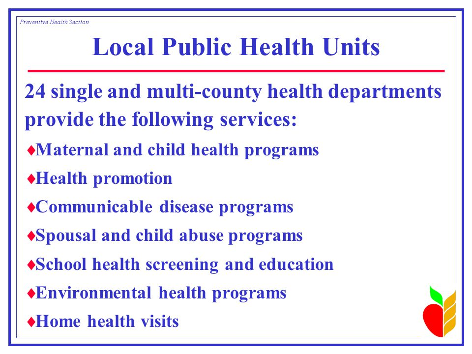 Local Public Health Units 24 single and multi-county health departments provide the following services:  Maternal and child health programs  Health promotion  Communicable disease programs  Spousal and child abuse programs  School health screening and education  Environmental health programs  Home health visits Preventive Health Section