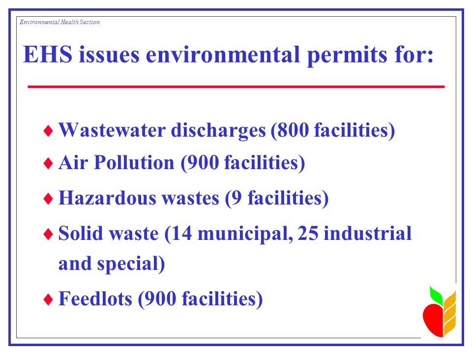 EHS issues environmental permits for:  Wastewater discharges (800 facilities)  Air Pollution (900 facilities)  Hazardous wastes (9 facilities)  Solid waste (14 municipal, 25 industrial and special)  Feedlots (900 facilities) Environmental Health Section