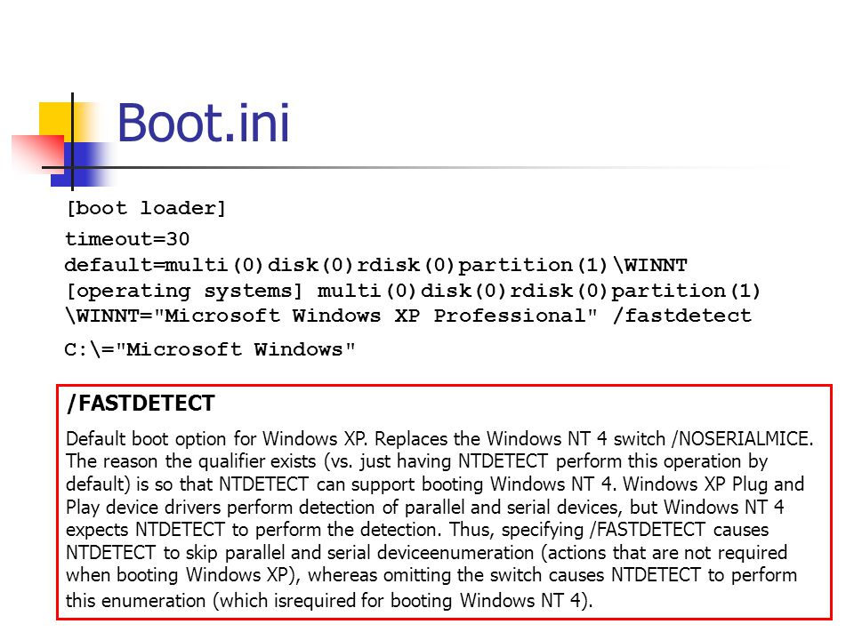 Boot.ini [boot loader] timeout=30 default=multi(0)disk(0)rdisk(0)partition(1)\WINNT [operating systems] multi(0)disk(0)rdisk(0)partition(1) \WINNT=
