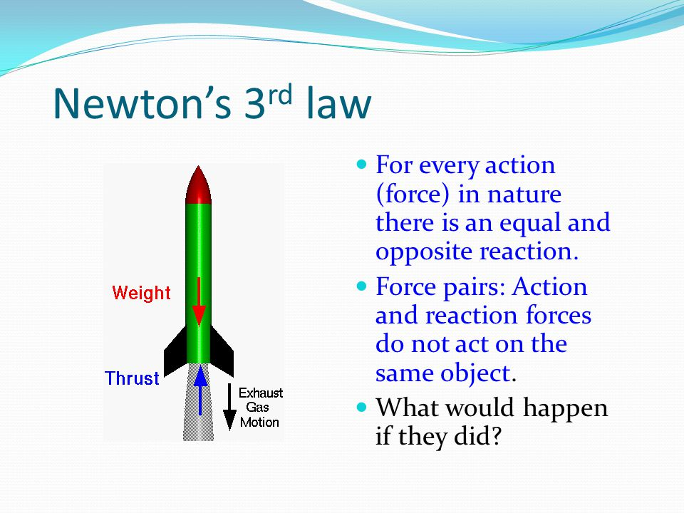 Newton's 3 rd law For every action (force) in nature there is an equal and opposite reaction.