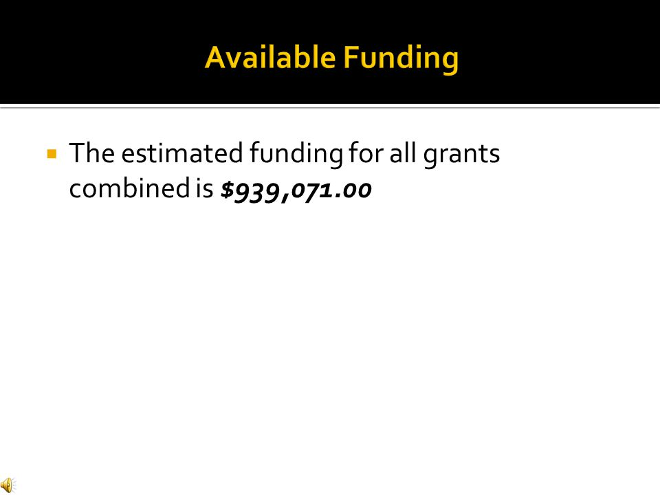  The estimated funding for all grants combined is $939,071.00