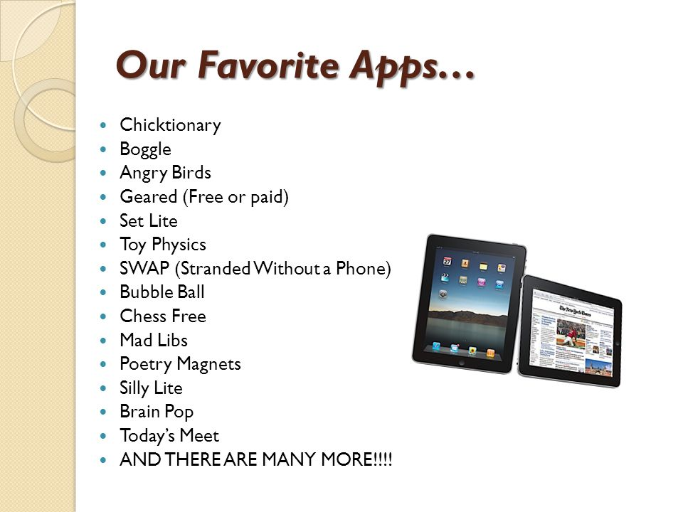 Our Favorite Apps… Chicktionary Boggle Angry Birds Geared (Free or paid) Set Lite Toy Physics SWAP (Stranded Without a Phone) Bubble Ball Chess Free Mad Libs Poetry Magnets Silly Lite Brain Pop Today's Meet AND THERE ARE MANY MORE!!!!