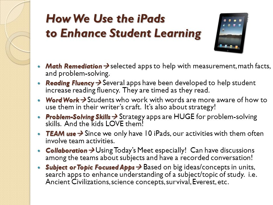 How We Use the iPads to Enhance Student Learning Math Remediation  Math Remediation  selected apps to help with measurement, math facts, and problem-solving.