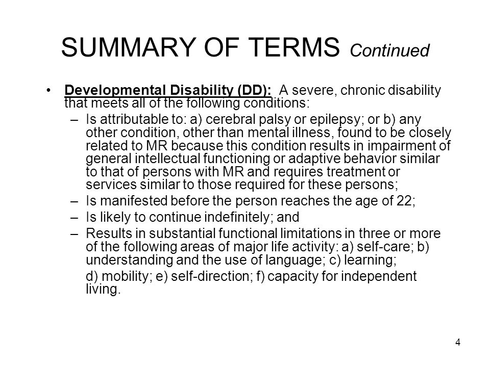 5 SUMMARY OF TERMS Continued Department of Developmental Services (DDS): PASRR authority for individuals having or suspected of having Intellectual Disability or other Developmental Disability (Formerly Department of Mental Retardation) Department of Mental Health (DMH): PASRR authority for individuals having or suspected of having mental illness (MI) Health and Education Services (HES): Contractor for DMH