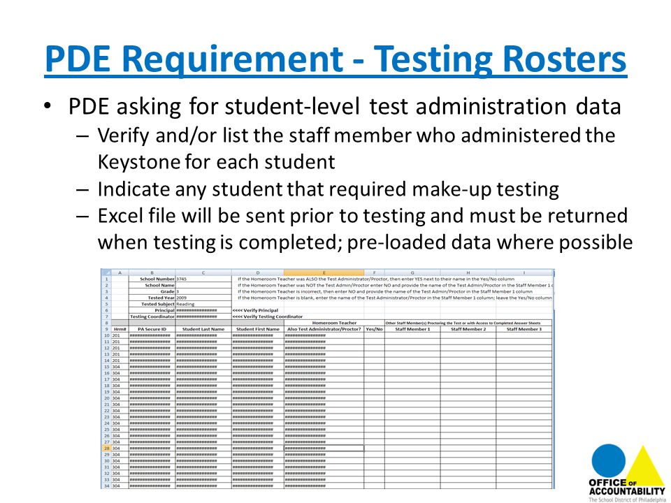 PDE Requirement - Testing Rosters PDE asking for student-level test administration data – Verify and/or list the staff member who administered the Key