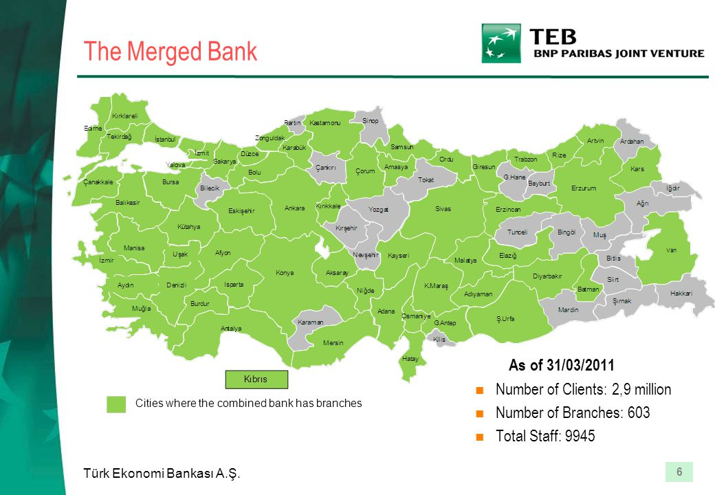 6 Türk Ekonomi Bankası A.Ş. The Merged Bank As of 31/03/2011 Number of Clients: 2,9 million Number of Branches: 603 Total Staff: 9945 Cities where the