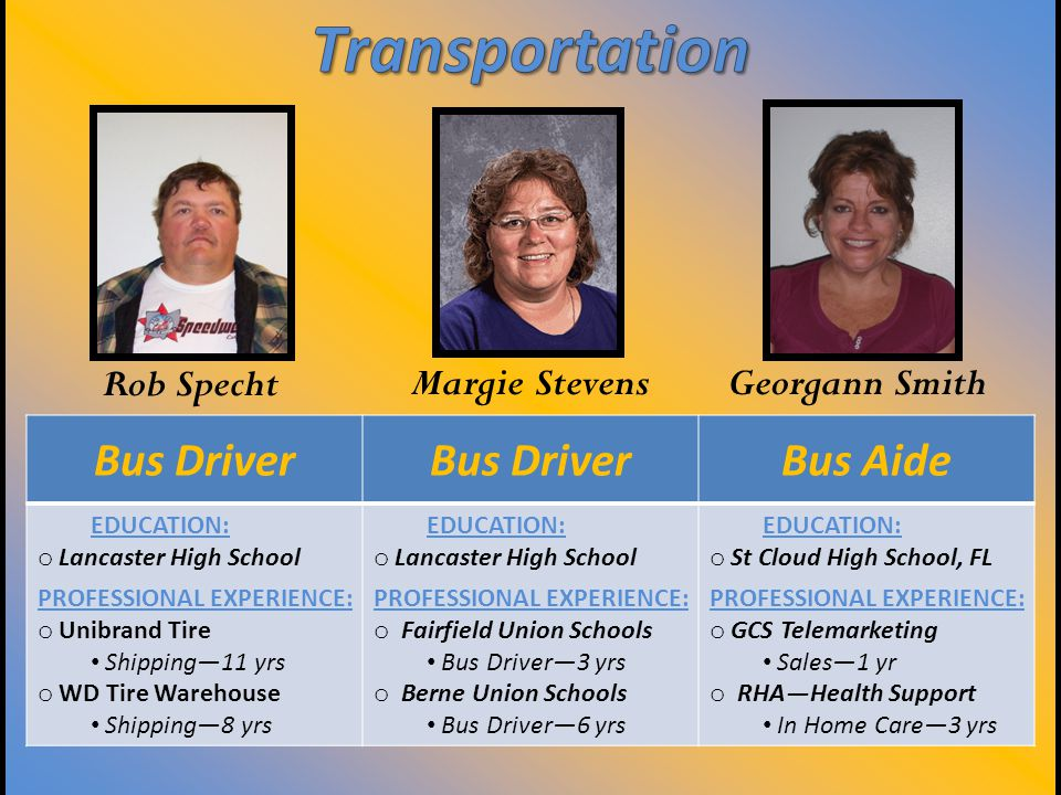 Bus Driver Bus Aide EDUCATION: o Lancaster High School PROFESSIONAL EXPERIENCE: o Unibrand Tire Shipping—11 yrs o WD Tire Warehouse Shipping—8 yrs EDUCATION: o Lancaster High School PROFESSIONAL EXPERIENCE: o Fairfield Union Schools Bus Driver—3 yrs o Berne Union Schools Bus Driver—6 yrs EDUCATION: o St Cloud High School, FL PROFESSIONAL EXPERIENCE: o GCS Telemarketing Sales—1 yr o RHA—Health Support In Home Care—3 yrs Rob Specht Margie Stevens Georgann Smith