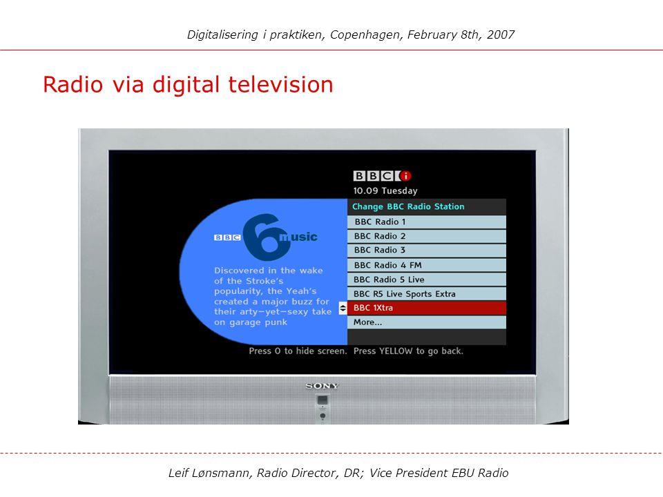 Leif Lønsmann, Radio Director, DR; Vice President EBU Radio Digitalisering i praktiken, Copenhagen, February 8th, 2007 Satellite radio (XM/Sirius) Wor