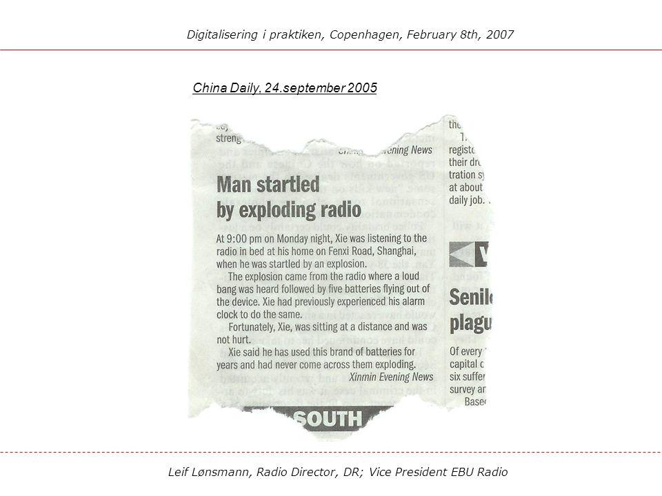 Leif Lønsmann, Radio Director, DR; Vice President EBU Radio DIGITALISERING I PRAKTIKEN New Radio - a digital rebirth of radio The future of radio serv