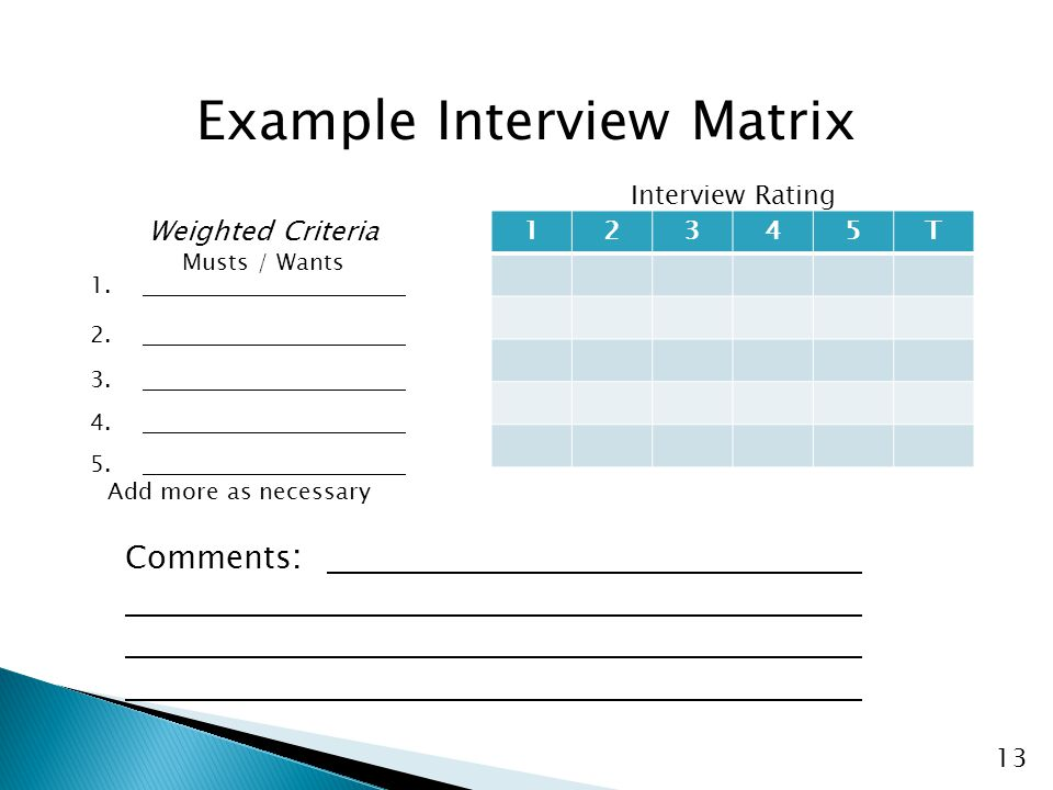 13 Example Interview Matrix 1. 2. 3. 4. 5. 12345T Comments : Interview Rating Weighted Criteria Musts / Wants Add more as necessary