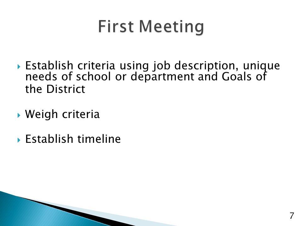  Establish criteria using job description, unique needs of school or department and Goals of the District  Weigh criteria  Establish timeline 7