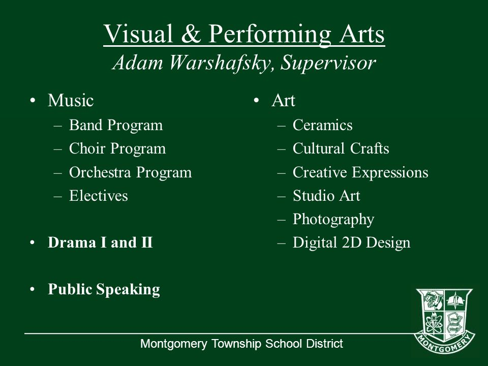 Montgomery Township School District Visual & Performing Arts Adam Warshafsky, Supervisor Music –Band Program –Choir Program –Orchestra Program –Electi
