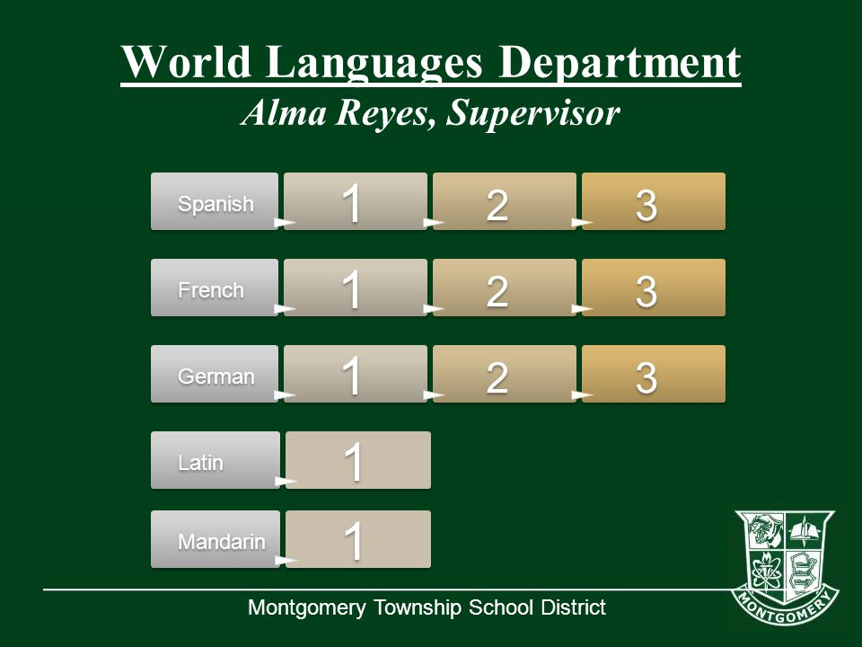 Montgomery Township School District Spanish 1 2 3 French 1 2 3 German 1 2 3 Latin 1 Mandarin 1 World Languages Department Alma Reyes, Supervisor