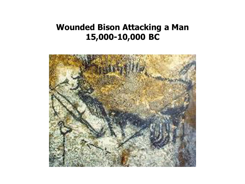 Wounded Bison Attacking a Man 15,000-10,000 BC