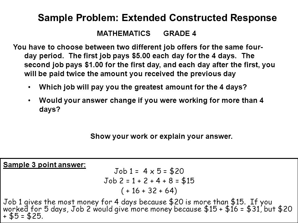 Sample Problem: Extended Constructed Response MATHEMATICS GRADE 4 You have to choose between two different job offers for the same four- day period.