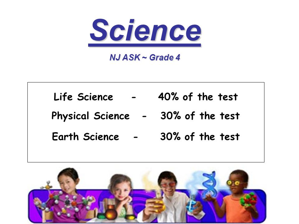 Science NJ ASK ~ Grade 4 Life Science - 40% of the test Physical Science- 30% of the test Earth Science - 30% of the test