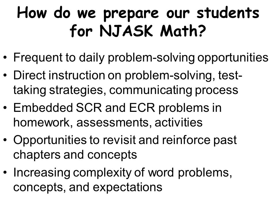 How do we prepare our students for NJASK Math.