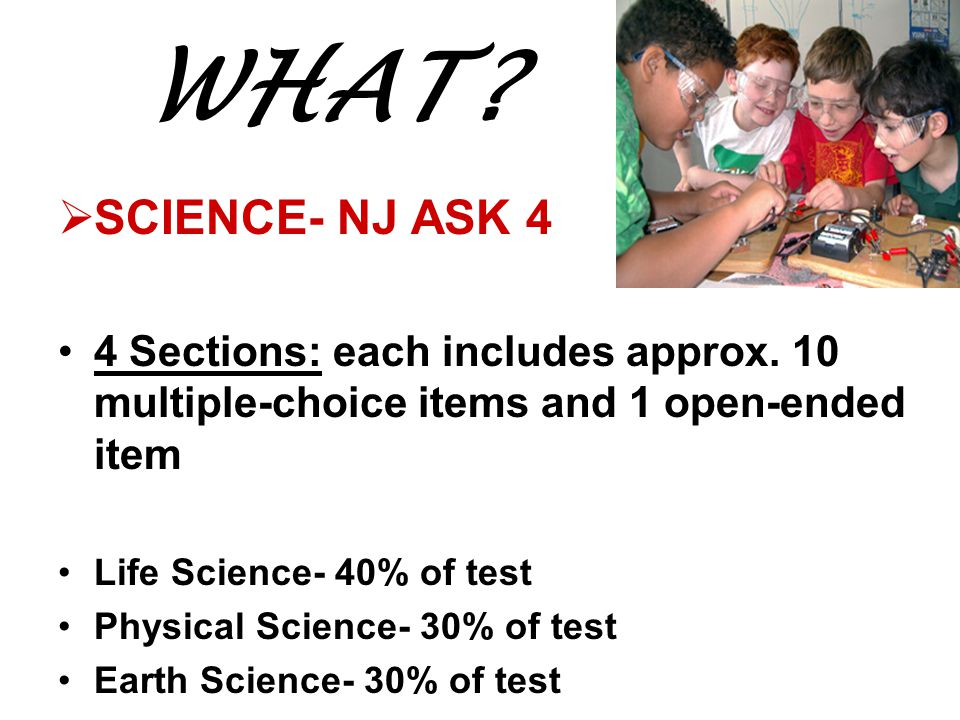 WHAT. SCIENCE- NJ ASK 4 4 Sections: each includes approx.