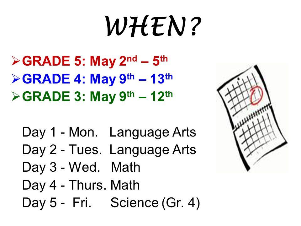 WHEN?  GRADE 5: May 2 nd – 5 th  GRADE 4: May 9 th – 13 th  GRADE 3: May 9 th – 12 th Day 1 - Mon. Language Arts Day 2 - Tues. Language Arts Day 3