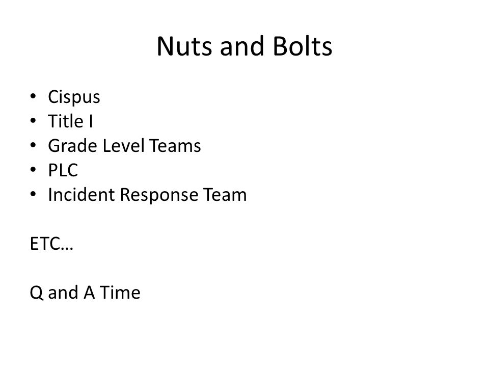 Nuts and Bolts Cispus Title I Grade Level Teams PLC Incident Response Team ETC… Q and A Time