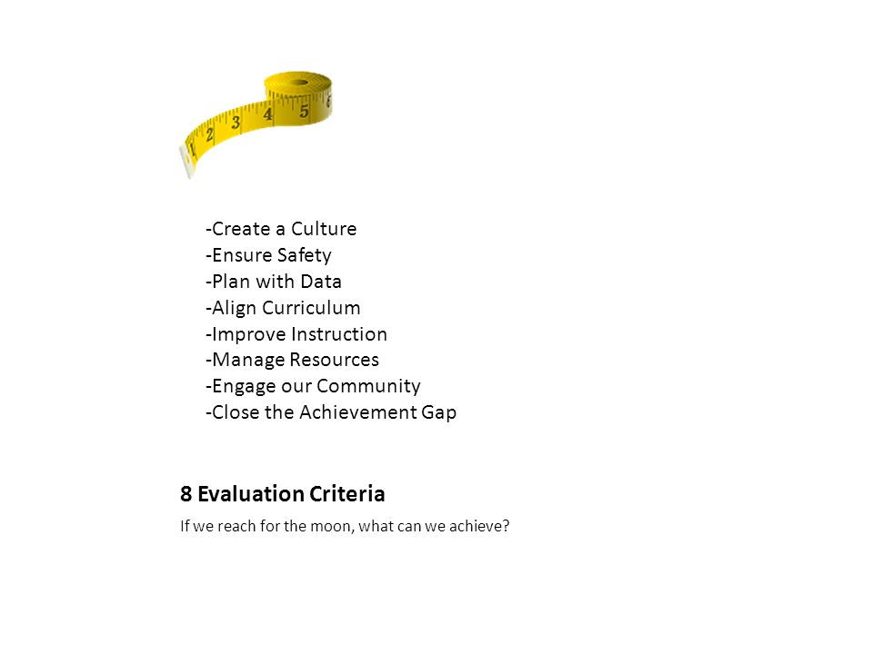 8 Evaluation Criteria If we reach for the moon, what can we achieve.