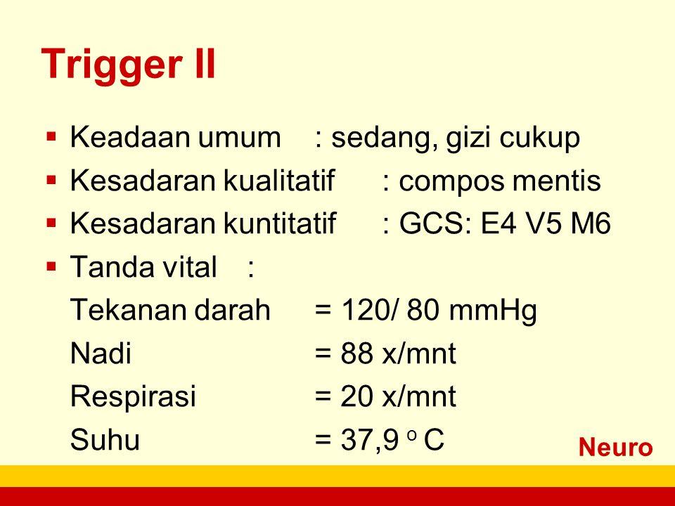 Neuro Trigger II  Keadaan umum: sedang, gizi cukup  Kesadaran kualitatif: compos mentis  Kesadaran kuntitatif: GCS: E4 V5 M6  Tanda vital: Tekanan