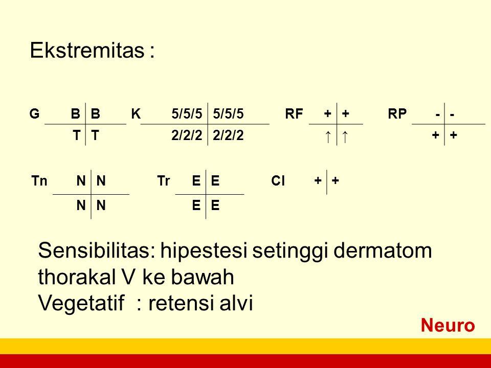 Neuro PEMERIKSAAN Ekstremitas : GBBK5/5/5 RF++RP-- TT2/2/2 ↑↑++ TnNNTrEECl++ NNEE Sensibilitas: hipestesi setinggi dermatom thorakal V ke bawah Vegetatif: retensi alvi