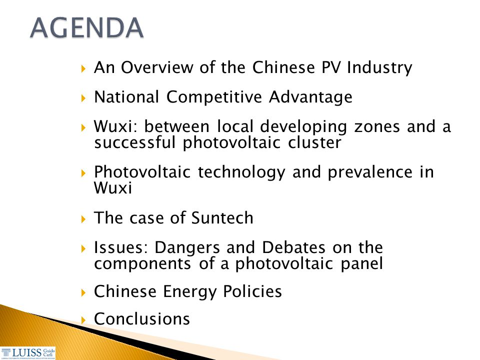  An Overview of the Chinese PV Industry  National Competitive Advantage  Wuxi: between local developing zones and a successful photovoltaic cluster