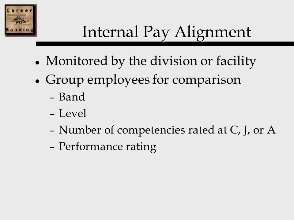 Internal Pay Alignment Monitored by the division or facility Group employees for comparison – Band – Level – Number of competencies rated at C, J, or A – Performance rating