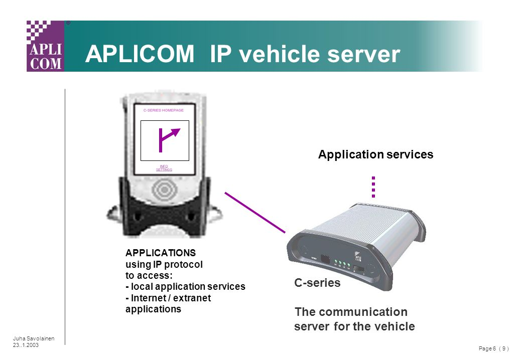 Page 6 ( 9 ) Juha Savolainen 23..1.2003 APPLICATIONS using IP protocol to access: - local application services - Internet / extranet applications C-series The communication server for the vehicle APLICOM IP vehicle server Application services