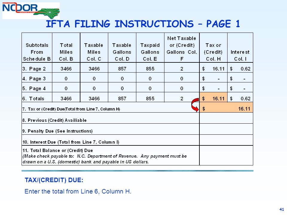 41 TAX/(CREDIT) DUE: Enter the total from Line 6, Column H. IFTA FILING INSTRUCTIONS – PAGE 1
