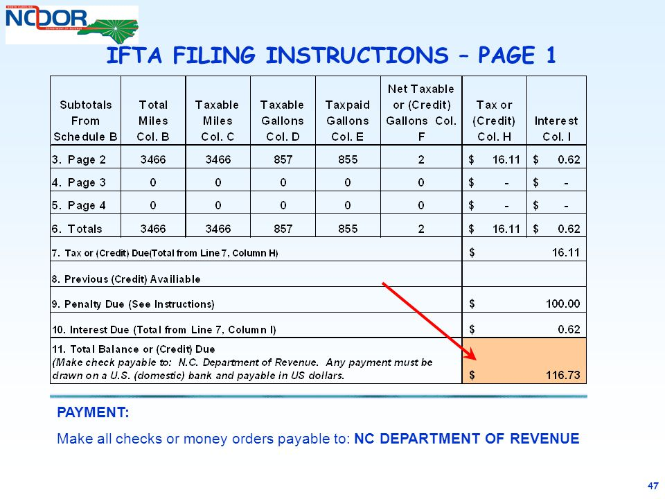 47 PAYMENT: Make all checks or money orders payable to: NC DEPARTMENT OF REVENUE IFTA FILING INSTRUCTIONS – PAGE 1