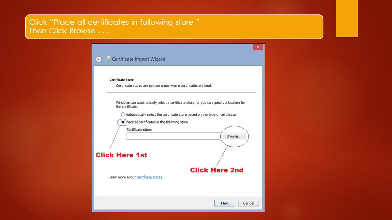 "Click ""Place all certificates in following store "" Then Click Browse..."