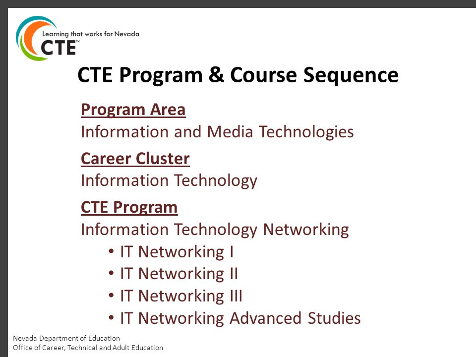 CTE Program & Course Sequence Program Area Information and Media Technologies Career Cluster Information Technology CTE Program Information Technology Networking IT Networking I IT Networking II IT Networking III IT Networking Advanced Studies Nevada Department of Education Office of Career, Technical and Adult Education