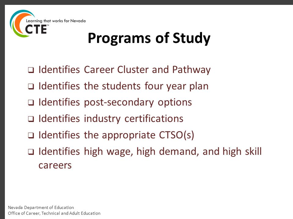 Programs of Study  Identifies Career Cluster and Pathway  Identifies the students four year plan  Identifies post-secondary options  Identifies in