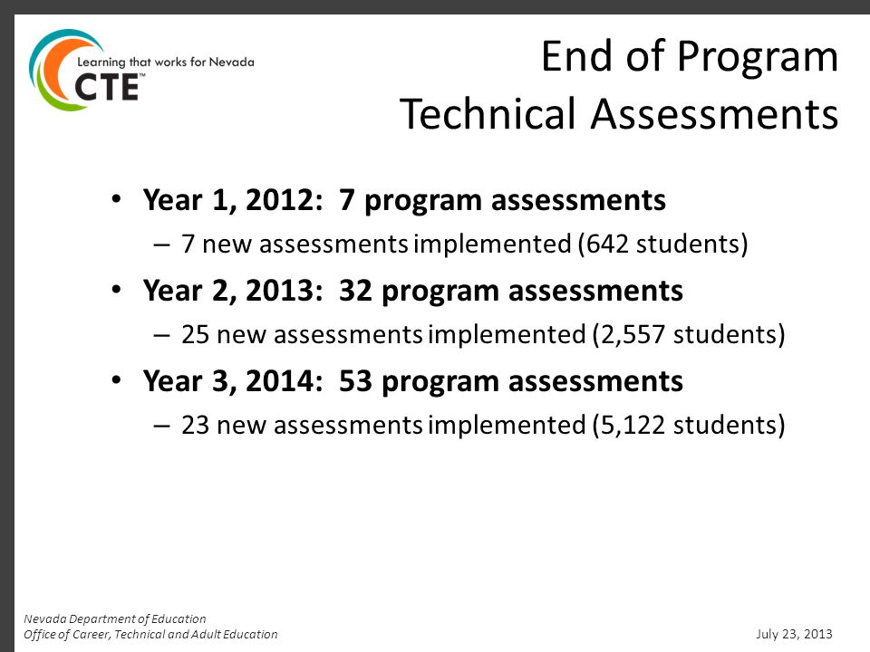 End of Program Technical Assessments Year 1, 2012: 7 program assessments – 7 new assessments implemented (642 students) Year 2, 2013: 32 program assessments – 25 new assessments implemented (2,557 students) Year 3, 2014: 53 program assessments – 23 new assessments implemented (5,122 students) July 23, 2013 Nevada Department of Education Office of Career, Technical and Adult Education