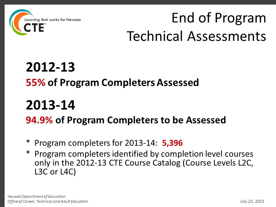 End of Program Technical Assessments 2012-13 55% of Program Completers Assessed 2013-14 94.9% of Program Completers to be Assessed * Program completer