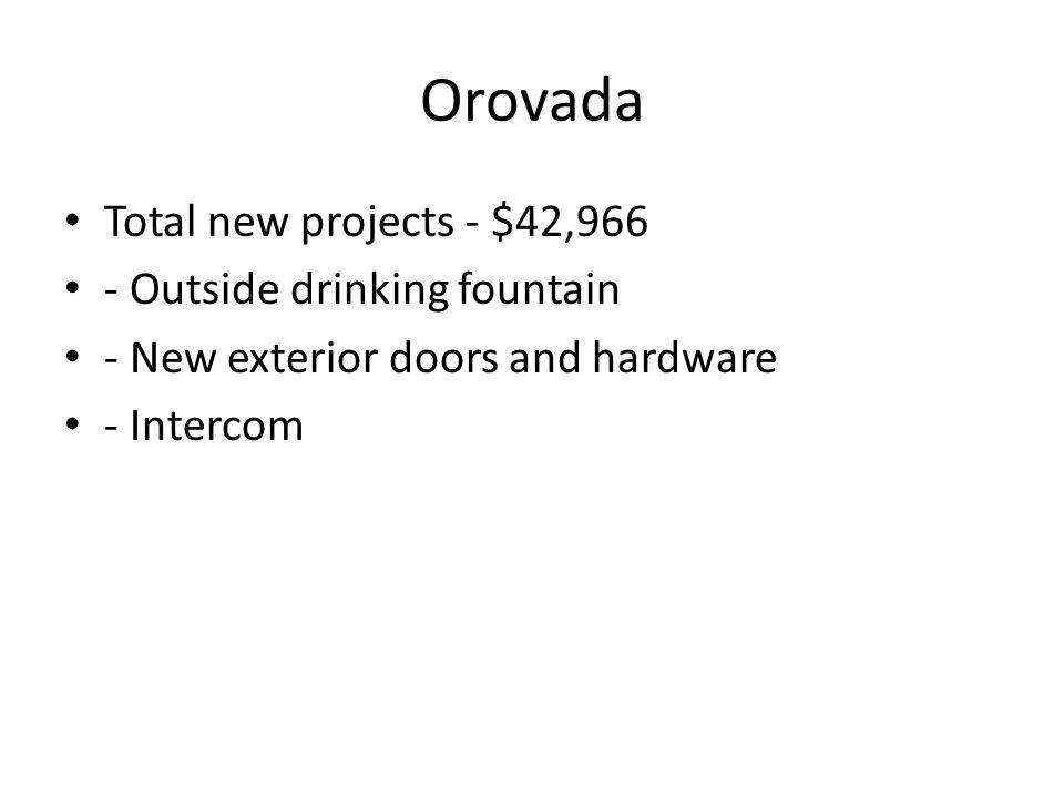 Orovada Total new projects - $42,966 - Outside drinking fountain - New exterior doors and hardware - Intercom
