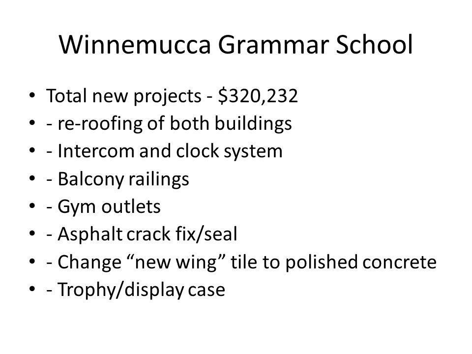 Winnemucca Grammar School Total new projects - $320,232 - re-roofing of both buildings - Intercom and clock system - Balcony railings - Gym outlets - Asphalt crack fix/seal - Change new wing tile to polished concrete - Trophy/display case