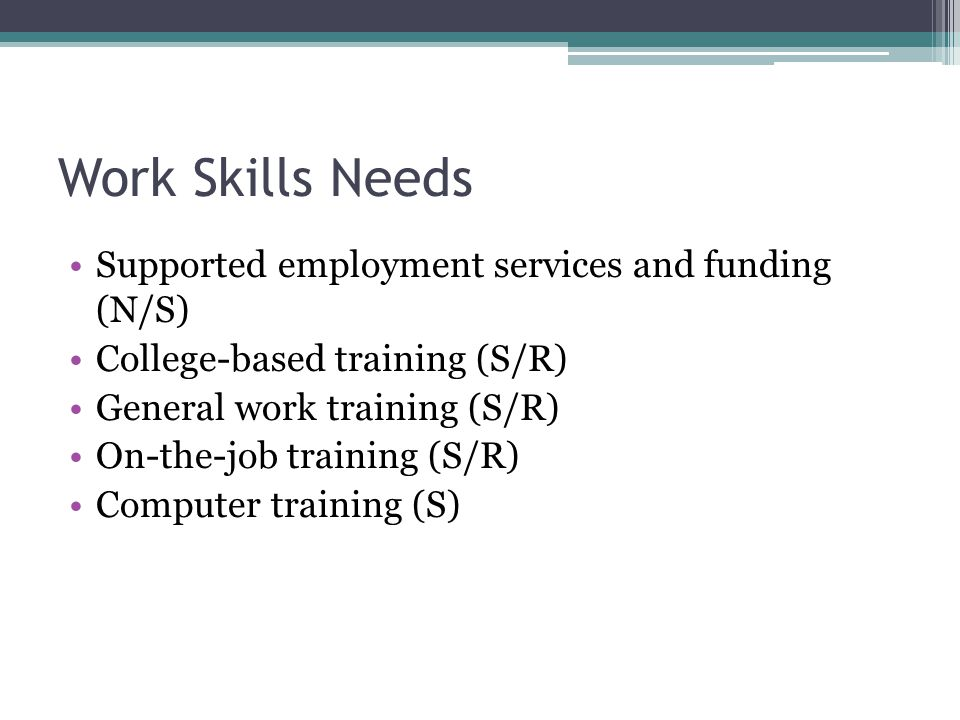 Work Skills Needs Supported employment services and funding (N/S) College-based training (S/R) General work training (S/R) On-the-job training (S/R) Computer training (S)