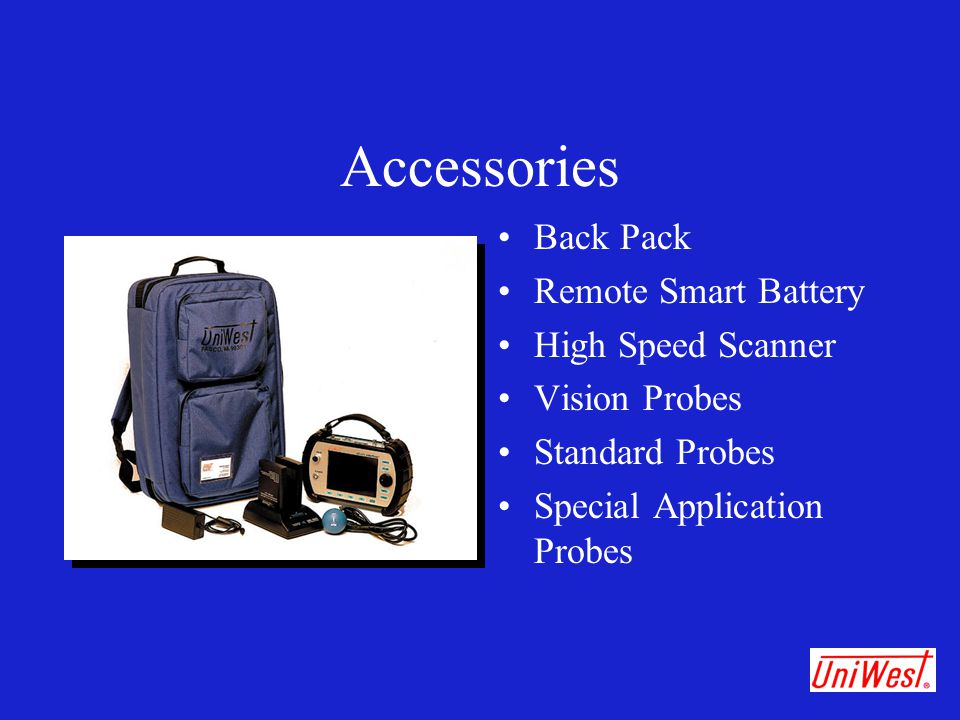 Accessories Back Pack Remote Smart Battery High Speed Scanner Vision Probes Standard Probes Special Application Probes