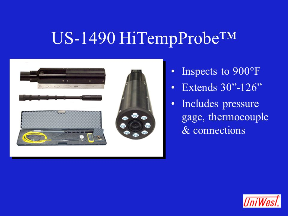 """US-1490 HiTempProbe™ Inspects to 900°F Extends 30""""-126"""" Includes pressure gage, thermocouple & connections"""