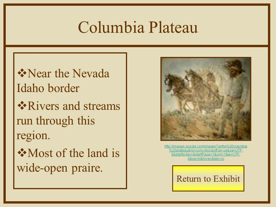 Columbia Plateau  Near the Nevada Idaho border  Rivers and streams run through this region.