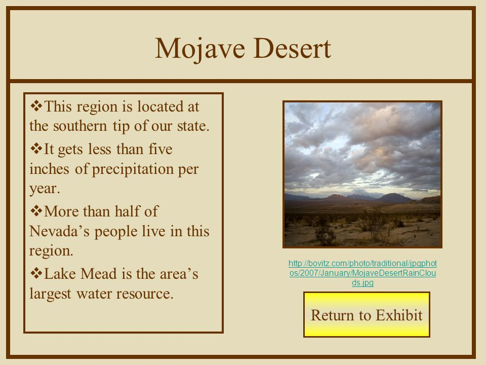 Mojave Desert  This region is located at the southern tip of our state.  It gets less than five inches of precipitation per year.  More than half o